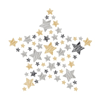 Star scribble christmas golden black gray isolated white background