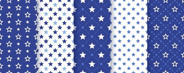 星のシームレスなパターン。図。幾何学的なネイビーブルーのテクスチャです。