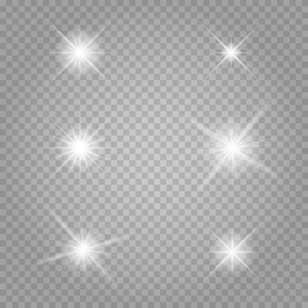Star set. white glowing light explodes on a transparent .
