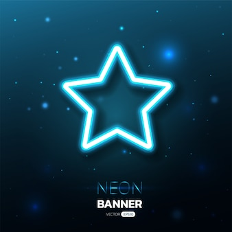 Star shape neon banner with lights effects.