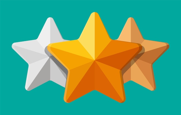 Star shape ornament. five corner star. gold, silver and bronze awards. symbol of wealth, trophy or prize. vector illustration in flat style