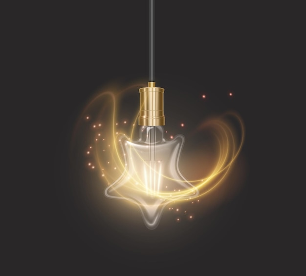 Лампочка в форме звезды в стиле ретро на темной подложке, светящаяся лампочка в реалистичном стиле
