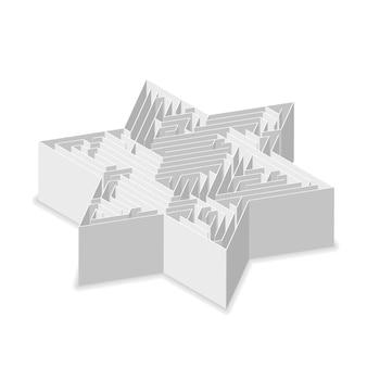 Звездообразный сложный серый лабиринт в изометрической проекции, изолированный на белом
