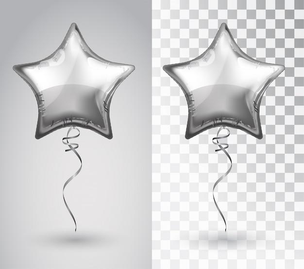 透明な背景に星の銀の風船。
