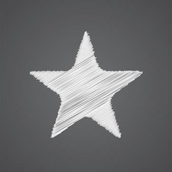 暗い背景に分離された星のスケッチロゴ落書きアイコン