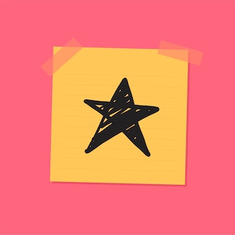 Star sketch sticky note illustration