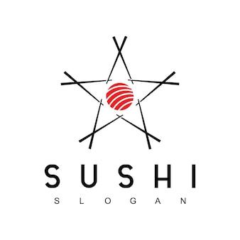 Star sushi logo design template