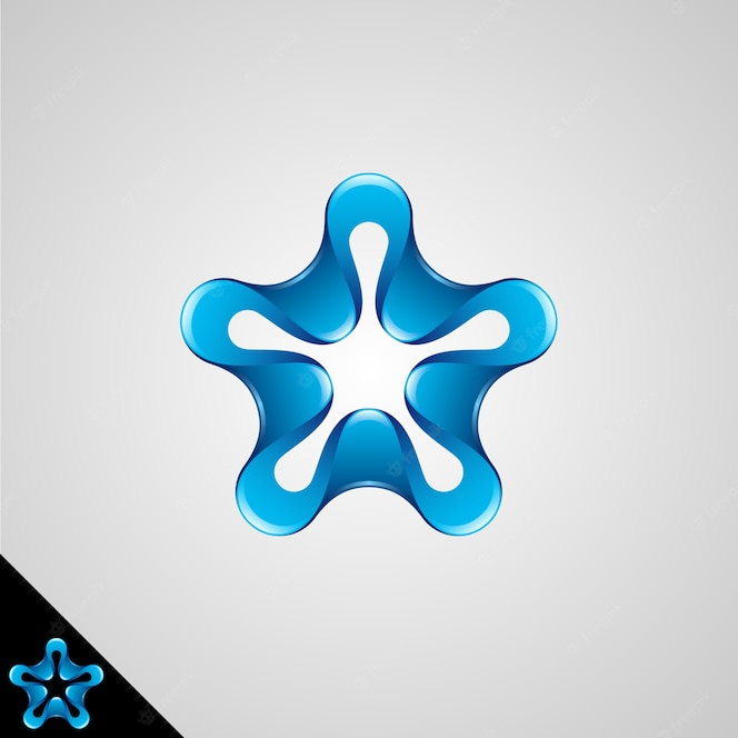 star symbol with shining 3d style and rounded edge