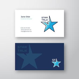 Звездный разговор абстрактный логотип и шаблон визитной карточки.