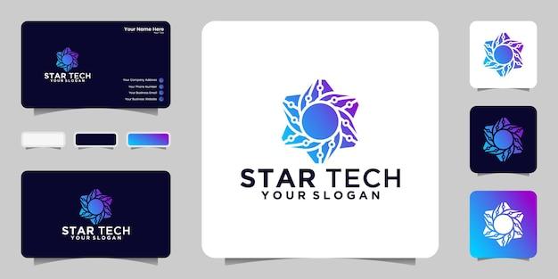Star tech logo design template and business card Premium Vector