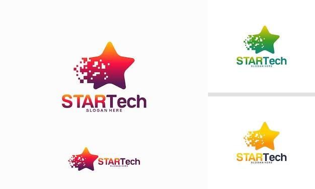 스타 기술 로고 디자인 컨셉, 샤인 테크 아이코닉 로고 템플릿 벡터