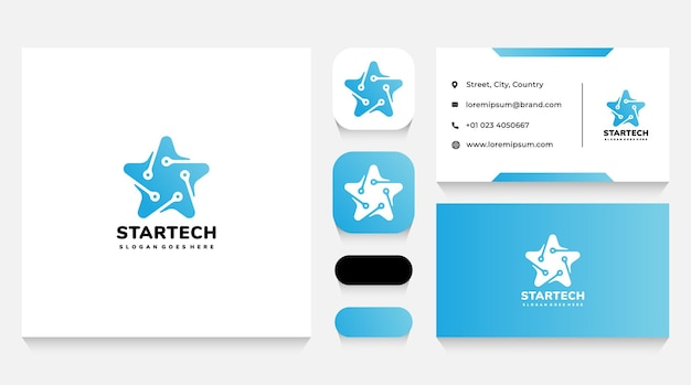 Star technology logo template and business card