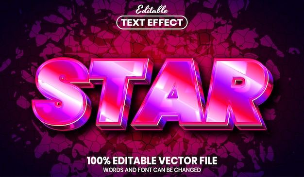 Star text, font style editable text effect