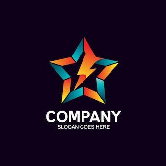 Star and thunder logo design