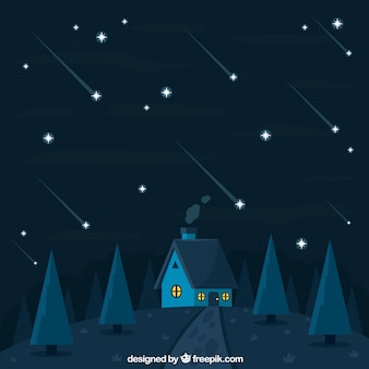 Star trail background with house and trees