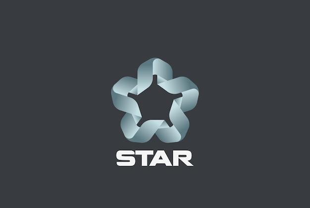 スターユニオンのロゴ。リボンループインフィニティデザイン。無限のチームワーク友情パートナーシップのロゴタイプ