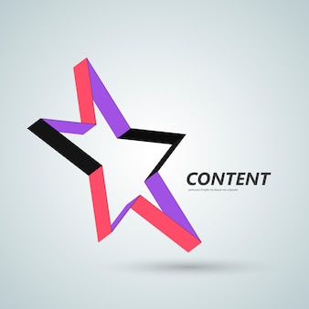 Star vector icon, 3d ribbon abstract symbol