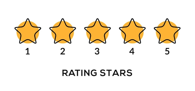 Star vector rate 5 review icon. five star rate yellow row quality gold symbol ranking.