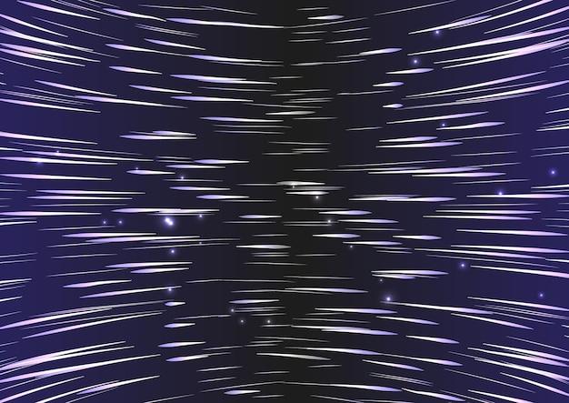스타 워프. 초 공간 점프, 움직이는 별의 흔적이 빛납니다.