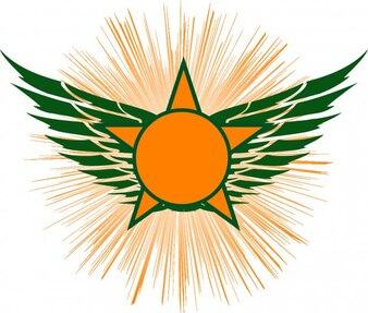 Star wings orange condecoration icon vector
