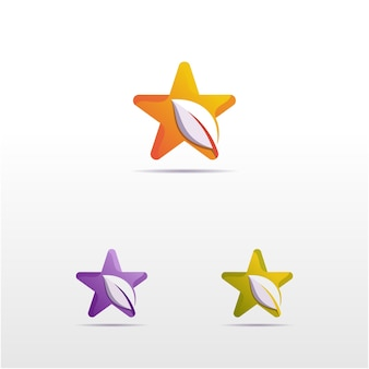 Звезда с градиентным цветом листьев