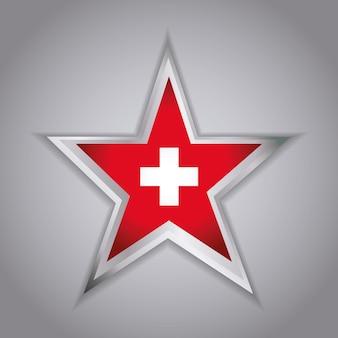 스위스 국기 아이콘으로 스타