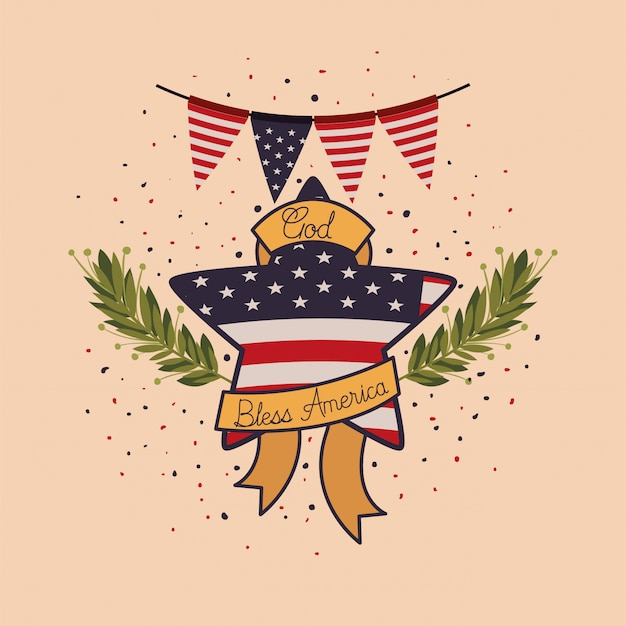 Star with wreath and usa flag of memorial day emblem