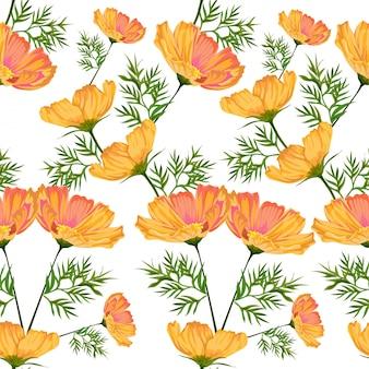 Starburst flowers seamless pattern-vector