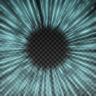 透明な背景に光効果スターバストフレームベクトル図