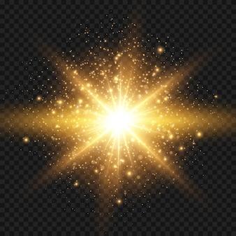 きらめきと光線のクリスマスデザイン要素とスターバースト