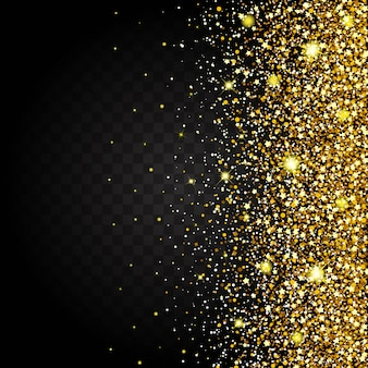 Эффект летящего со стороны золотого блеска роскошного дизайна богатого фона. темный фон stardust зажжет взрыв на прозрачном фоне. роскошная золотая текстура