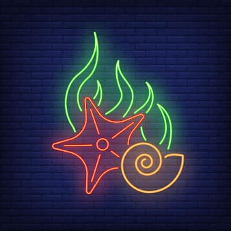 Starfish, algae and shell neon sign on brick wall .
