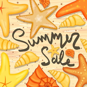 Starfish and sea shells and a label template about summer discounts and sales