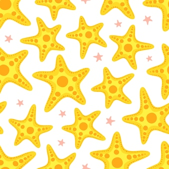 Starfish seamless pattern.