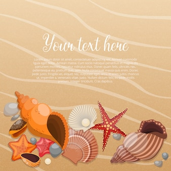 Starfishes on sand with place for the text and sea life animals