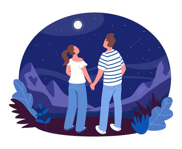 Наблюдение за звездами 2d веб-баннер, плакат. мальчик и девочка держатся за руки и смотрят звезды. подросток пара плоских персонажей на фоне мультфильма. патч для печати