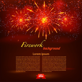 Starry fireworks on red background template. vector illustration
