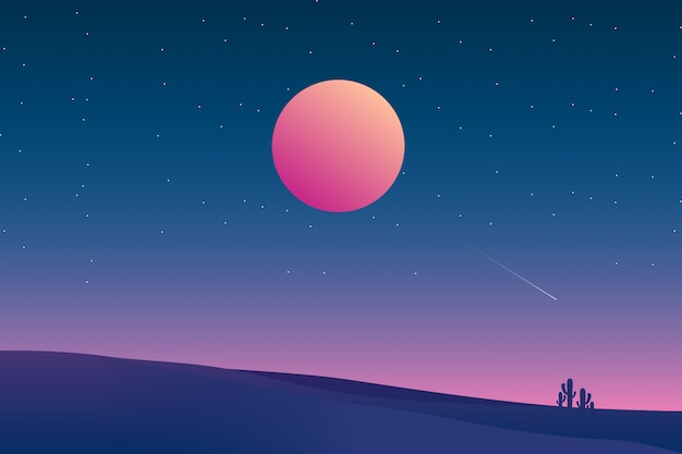Starry night background with desert landscape illustration
