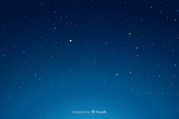 Starry night gradient blue sky
