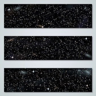Starry night horizontal panoramic banners collection