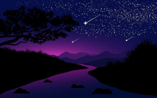 川と星空の夜のイラスト