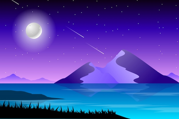 Starry night and sea scenery landscape