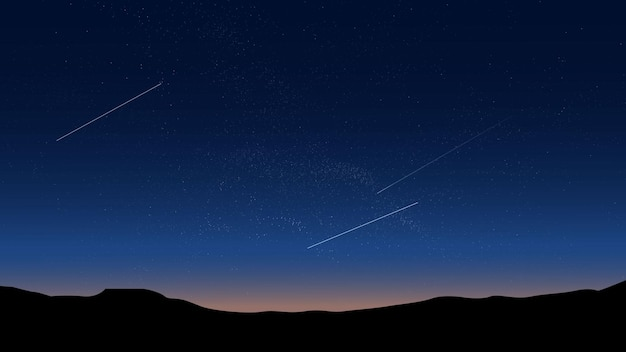 Звездное ночное небо природа фон с холмом
