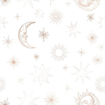 Starry night sky trendy seamless pattern, vintage celestial hand drawn background template of galaxy, space, moon, sun, stars for design, texture, textile, decoration. illustration in vector