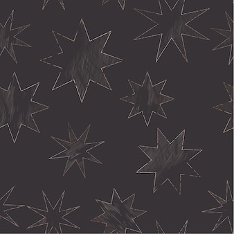 Starry night sky trendy seamless pattern, vintage celestial hand drawn background template of galaxy, space, stars for design, texture, textile, decoration. illustration in vector