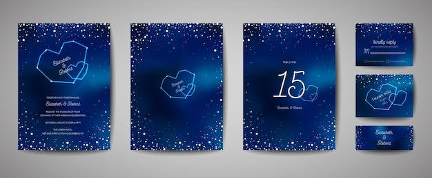 Звездное ночное небо модный свадебный пригласительный билет, сохранить дату небесный шаблон с галактикой, космос, звезды иллюстрации в векторе