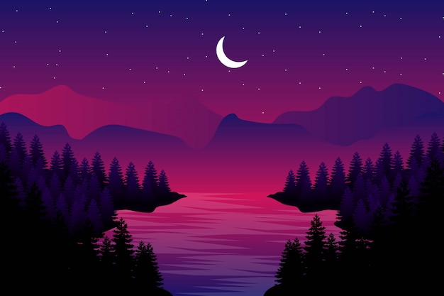 Starry night with pine forest illustration