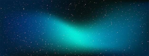 Звездная ночь с блестящими звездами в градиентном небе.