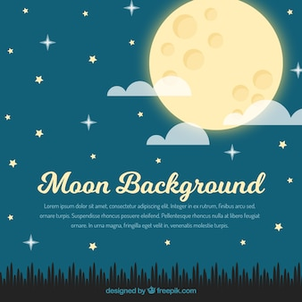 Starry sky and moon background in flat design