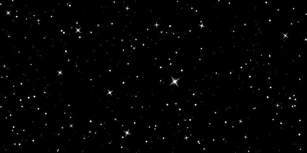 별이 빛나는 하늘. 어두운 밤하늘. 빛나는 별이있는 무한 공간. 신비한 어둠의 우주.
